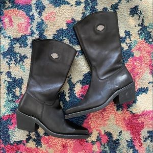Harley-Davidson Black Leather Pointed Toe  Boots